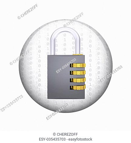 Combination lock. Spherical glossy button. Web element