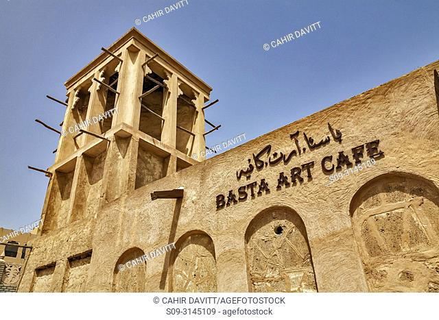 Architectural detail of a wind tower of the Basta Art Cafe in the Bastakiya Quarter and , Barr Dubayy, Dubai, Dubayy, United Arab Emirates