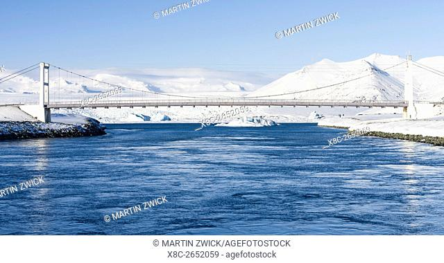 The bridge of the Ring Road at the glacial lagoon Joekulsarlon in the Vatnajoekull NP during winter. europe, northern europe, iceland, February