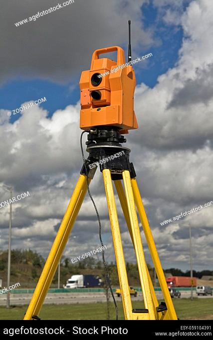 Surveying highway - insturment set on the side of the road