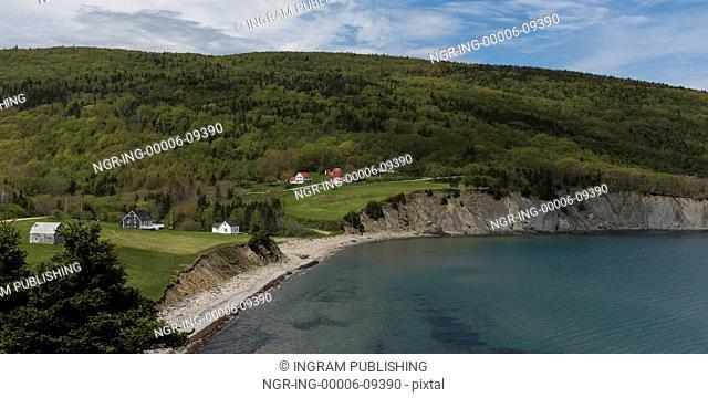 Scenic view of village at coastline, Cape North, Cape Breton Island, Nova Scotia, Canada