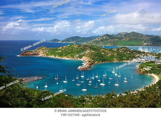 Lookout view from Shirley Heights over Admiral Nelson's Dockyards, Antigua, Leeward Islands, West Indies