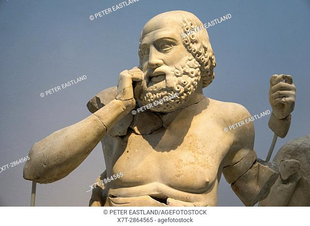 Detail of a 4th cen. bc. sculpture of a Seer on the East pediment of the Temple of Zeus. Archaeological museum, Ancient Olympia, Peloponnese, Greece