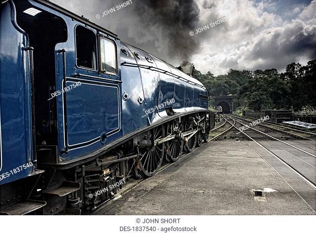 Sir Nigel Gresley train at Grosmont, North Yorkshire, England