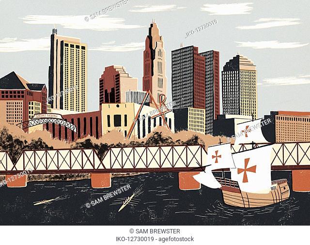 Illustration of replica sailing boat and Columbus cityscape