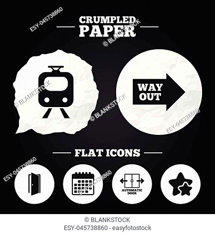 Crumpled paper speech bubble. Train railway icon. Automatic door symbol. Way out arrow sign. Paper button. Vector
