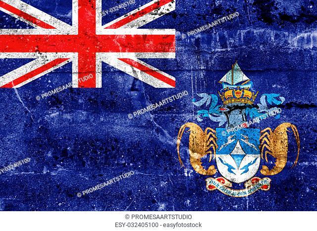 Flag of Tristan da Cunha (part of Saint Helena, Ascension and Tristan da Cunha), painted on dirty wall