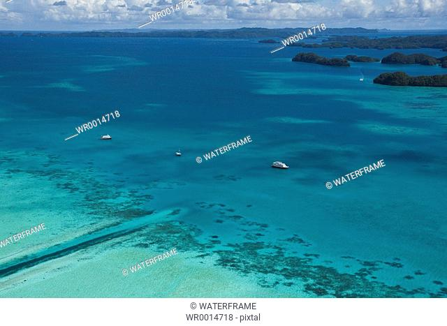 Boats at German Channel of Palau, Pacific, Micronesia, Palau