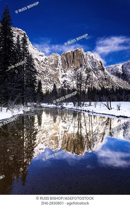 Yosemite Falls above the Merced River in winter, Yosemite National Park, California USA
