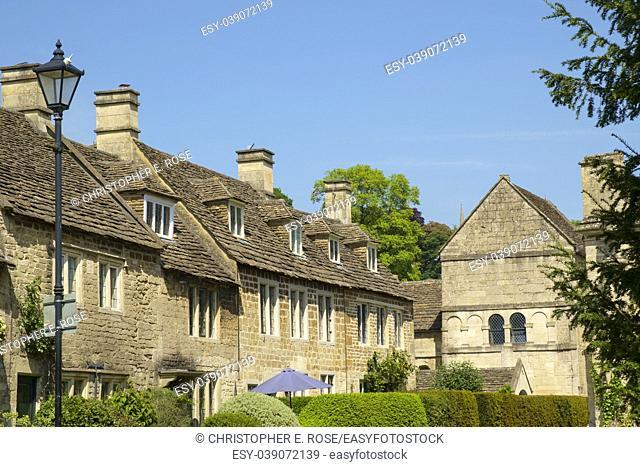 Quaint old homes around the church, Bradford-on-Avon, Wiltshire, UK