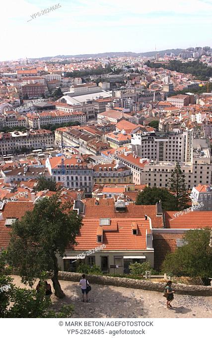 Lisbon skyline view from Castelo de Sao Jorge Portugal