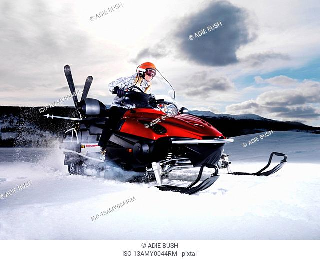 Girl on skidoo