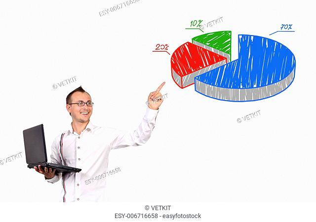 businessman with notebook points to pie chart
