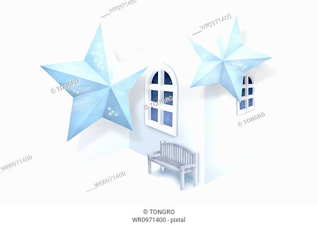 illustration of 3d stars and a bench