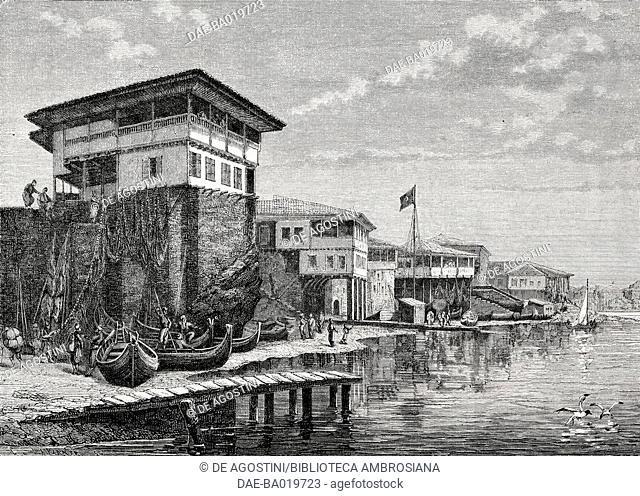 Houses and boats along the coast in Trabzon, Turkey, engraving from L'Illustrazione Italiana, No 20, May 20, 1877
