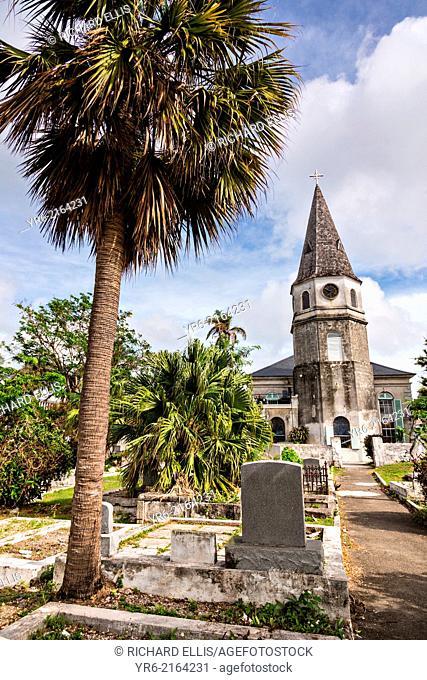 St. Matthews Anglican Church Nassau, Bahamas. St. Matthews is the oldest church in the Bahamas opened July 18th, 1802. The churchÕs steeple along with its clock...