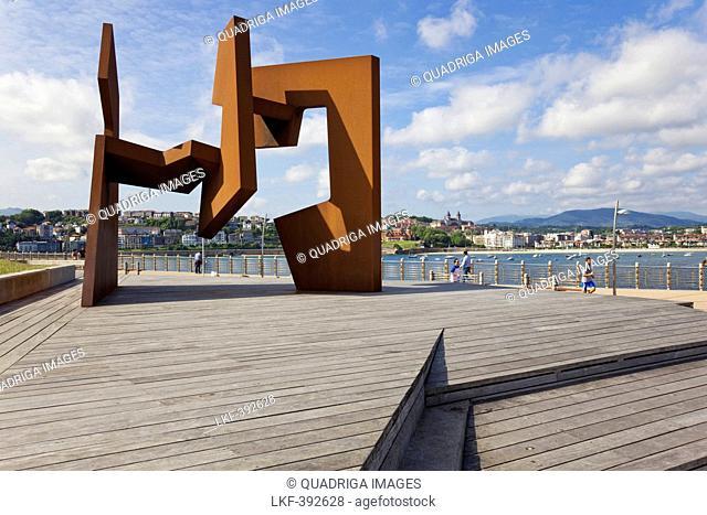 Sculpture of Jorge Oteiza at the Paseo Nuevo, promenade in San Sebactian, Donostia, San Sebastian, Basque Country, Spain