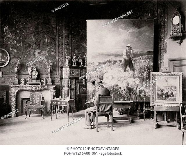 French painter Charles Jacque in his Paris studio located 73 boulevard de Clichy in the 18th arrondissement in Paris. Photograph by Edmond Bénard c