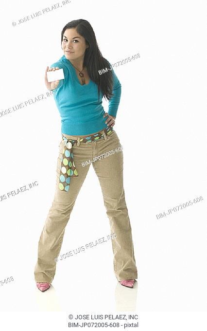 Teen girl holding a credit card