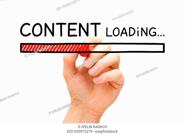Hand drawing Content loading bar concept with marker on transparent wipe board