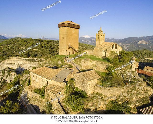 Torre de Abizanda, Bien de Interés Cultural , comarca de Sobrarbe, provincia de Huesca, cordillera de los Pirineos, Spain