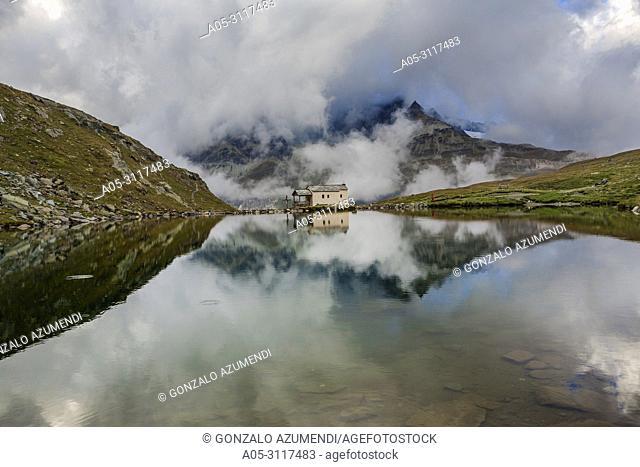 Schwarzsee mountain lake and Maria zum Schnee chapel.Zermatt. Swiss Alps. Valais. Switzerland. Europe