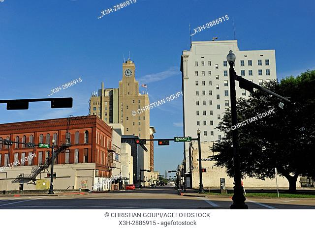 Orleans Avenue with Jacinto Building in the background, downtown Beaumont, Texas, United States of America, North America