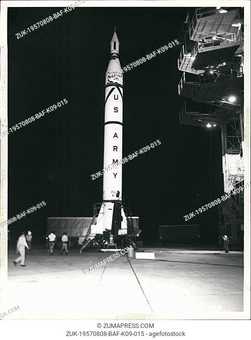 Aug. 08, 1957 - US Army Ballistics Missile Agency technicians ready a Jupiter C three stage missile for the final test of a model re-entry nose cone developed...