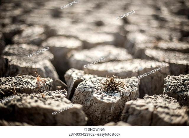 dry soil and gravel , season and global warming concept Black and white