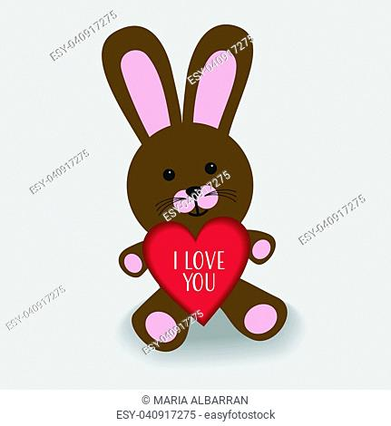 Pink bunny with heart I love you illustration and a small shade on grey background
