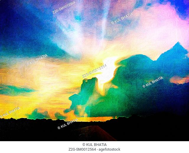 Storm clouds, radiating sun rays, photograph transformed into painter's brush strokes in many colours, Quebec, Canada