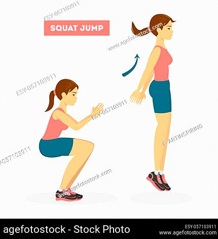 Woman doing jump squats exercise. Workout for the butt. Fitness in the gym and healthy lifestyle. solated vector illustration in cartoon style