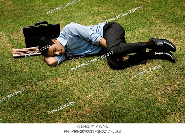 Businessman sleeping in a park