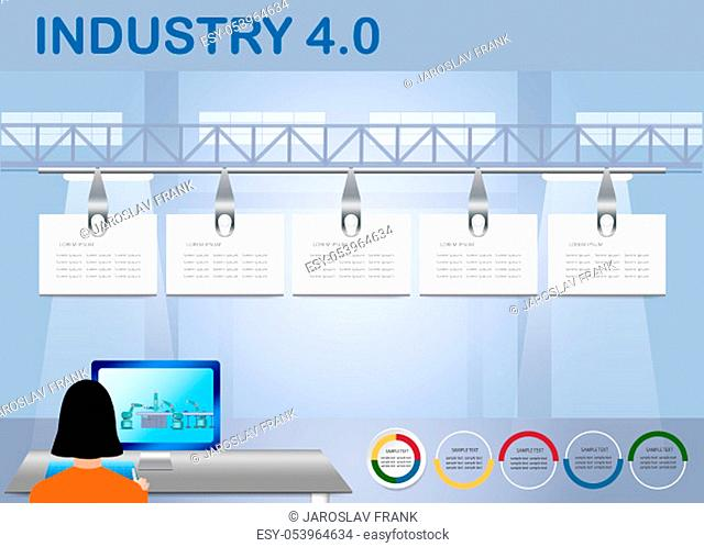 Industry 4.0 Smart factory control concept showing woman working on PC with robotic assembly line on the monitor. Five blank hanging labels are ready for your...