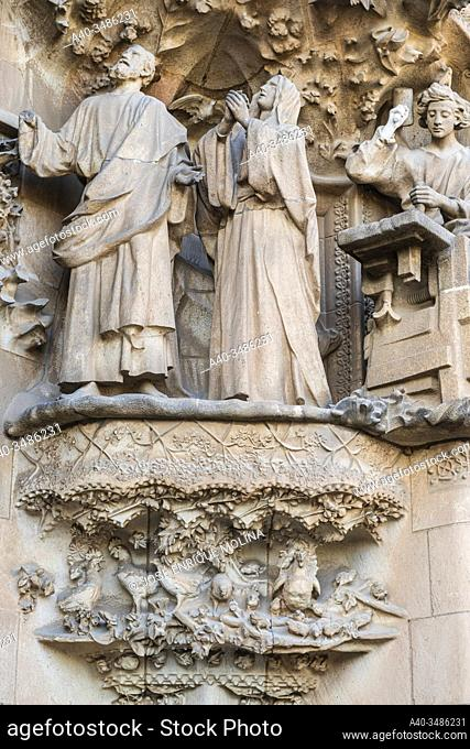 Basilica of La Sagrada Familia, Nativity Façade, Barcelona, Catalonia, Spain