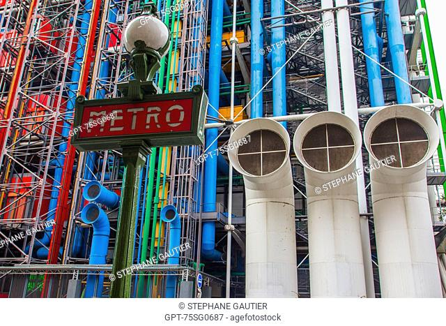 THE GEORGES POMPIDOU NATIONAL CENTER FOR ART AND CULTURE, (CNAC), ALSO CALLED CENTRE BEAUBOURG OR CENTRE POMPIDOU, EXHIBITS COLLECTIONS OF MODERN ART, DESIGN