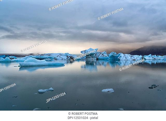 Jokulsarlon, a large lagoon filled with icebergs along the Southern coast of Iceland; Iceland