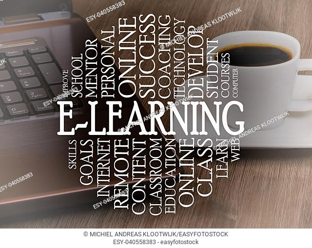 Word cloud e-learning concept with a e-learning background