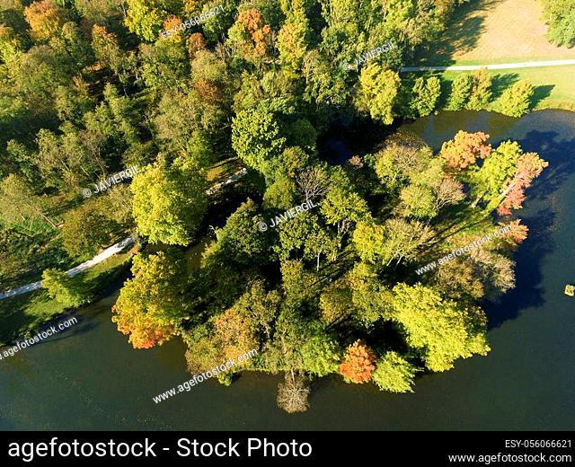 Lake in autumn, Chamarande, Essonne, Ile-de-france, France