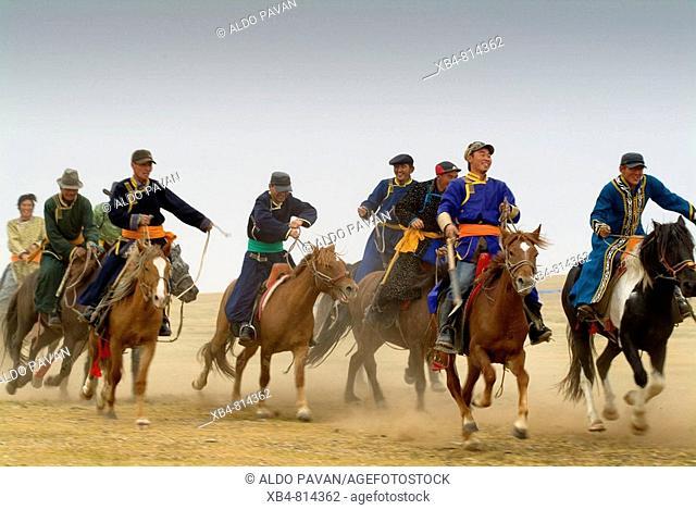 Mongolian horsemen, Xinyou grassland, Inner Mongolia, China