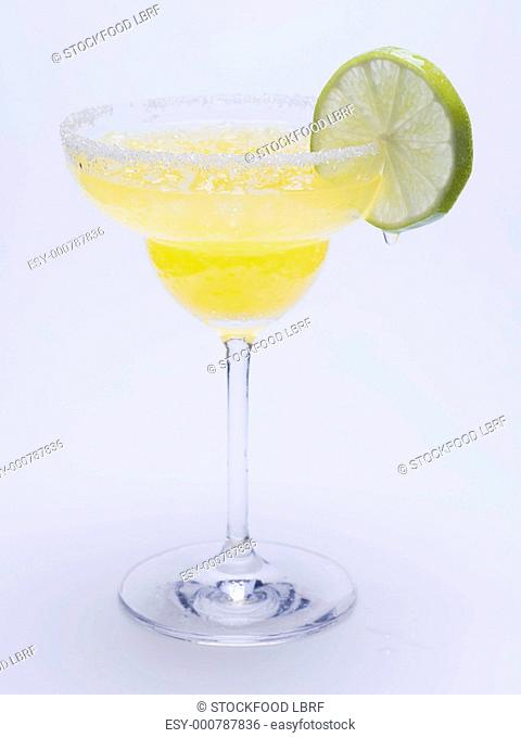Frozen Margarita with slice of lime
