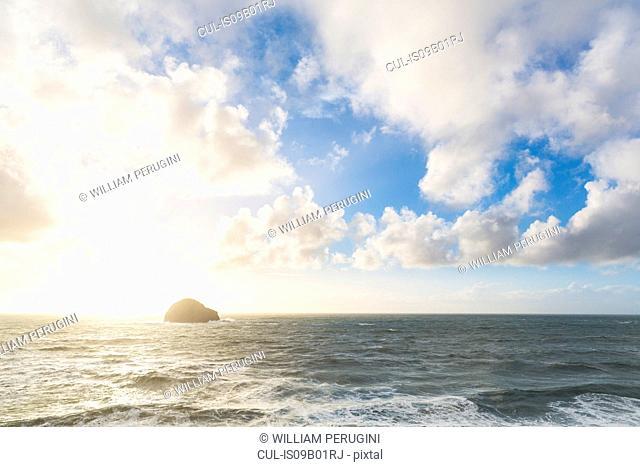 Island in ocean, Trebarwith, Cornwall, UK