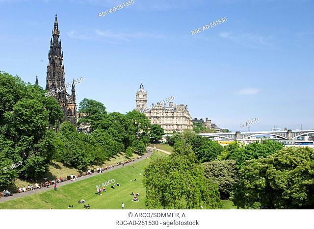 Scott Monument and Balmoral Hotel West Princes Street Gardens Edinburgh Lothian Scotland