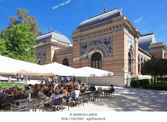 Cafe at Palacio de Velazques, exhibition venue for Reina Sofia Museum, Retiro Park, Parque del Buen Retiro, Madrid, Spain, Europe