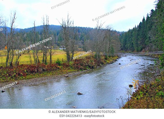 Mountain river flowing between village and green forest. Beautiful natural landscape. Panorama with forest river. Mountainous river flowing near Ukrainian...