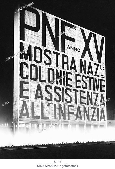 italia, insegna della mostra nazionale colonie estive e assistenza all'infanzia, 1930-40