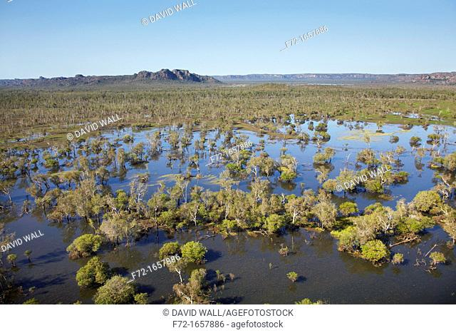 Aerial of wetlands of Tin Camp Creek and East Alligator River, Kakadu National Park, Northern Territory, Australia