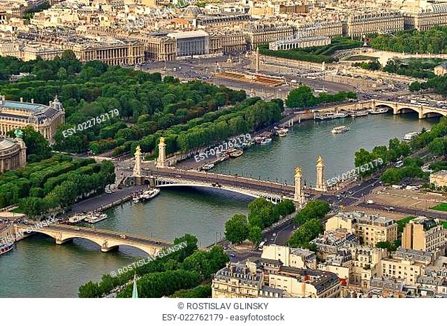 Aerial view of urban buildings and two bridges across Seine river in Paris, France (view from Eiffel Tower)