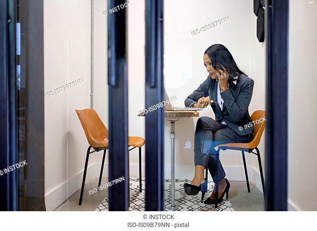 Businesswoman sitting in office, using laptop, on telephone call