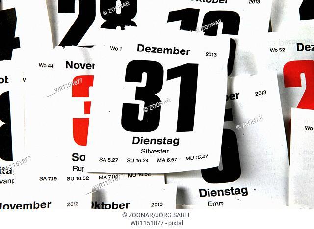 Calendar sheet of 31 december